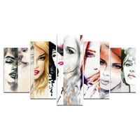 Wholesale picture sketches - Canvas Painting Unframed 5 Pieces Sketching Girls Wall Art Picture For Bedroom Home Decor Abstract Oil Painting Personalized Gift