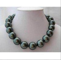 coquillages verts achat en gros de-Femme bijoux classiques 18MM 20mm noir perle ronde verte Naturel SOUTH SEA SHELL COLLIER PERLE BIJOUX 18 '' 45cm