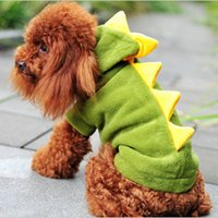Wholesale dinosaur fleece resale online - CW017 Pet supplies Dogs clothing Puppy Cat Cute Dinosaur Pretty pet Hoodies Costumes Clothes T shirt fleece pet dog clothes