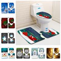 Wholesale toilet lid set resale online - 30 colors Christmas Toilet Mat Set Bathroom Carpet Toilet Lid Cover Toilet Seat Cover Rugs Non slip X mas Bath mats MMA500