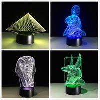 nachtlichtfarben großhandel-Alte ägypten anubis 3d led lampe nachtlicht illusion 7 farben geändert weihnachten spielzeug geschenk usb licht freunde geschenk wohnkultur drop ship