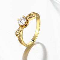 strass ringe gelbgold großhandel-Top Selling 18k Solid Gelbgold Überzogen Simulierte Diamant Ehering Frauen Charme Schöne Gold Liebe Ring Glanz Strass Schmuck