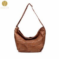 Discount top grain leather handbags - REAL GENUINE LEATHER PATCHWORK HOBO - Women's Top Quality Daily Casual Soft Cowhide Cow Grain Leather Large Shoulder Bag Handbag