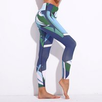ingrosso collant da ballo di yoga-Pantaloni da yoga da donna Leggings sportivi Pantaloni da allenamento stampati 3D blu Pantaloni da ballo Capris da fitness Pantaloni da jeggings skinny da running