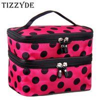 Wholesale korean laptop bags resale online - 2018 Cute Dot Layer Cosmetic Bag Women Travel Necessaries High capacity Storage Laptop Makeup Organizer Make UP Handbags L08