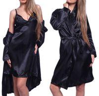 Wholesale Satin Lingerie Sets - 2018 Sexy Women 3pcs Set Gown Sets Pajamas Sets Women Satin Lace Robe Sleepwear Lingerie Nightdress G-string Robe