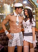 Wholesale carnival uniforms adults - Adult Men Halloween Sexy Sailor Costume kit Hot Erotic Sexy Slim White Seaman Uniform Carnival Festival Male Costumes