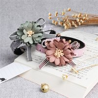 Wholesale pink dog collars resale online - Pet Bow Tie Chiffon Flowers Dog Necktie Adjustable Collar Accessories Grooming Removable Collars Creative Personality Multicolor am3 jj
