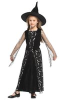 Wholesale full moon cosplay online - Shanghai Story Girls Costume Moon Print Dress Hat Halloween Cosplay Witch For girls