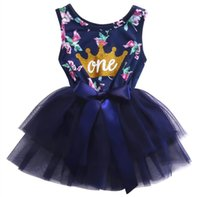 Wholesale Girls Crown Dress - 0-2T Kid Girls Princess Baby Dress Newborn Infant Baby Girl Clothes Purple Floral Crown Print Tutu Ball Gown Party Dresses