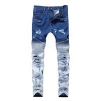 fermuarlı belli tozluklar toptan satış-Erkek Kot Dış Lokomotif Skinny Jeans Fermuar Bahar Esnekliği Çift Renk Kırık Delik Orta Bel Moda Pantolon Tayt Yırtık