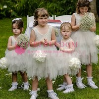 Wholesale Yellow Princess Dresses For Sale - 2018 Cute Ivory Lace Appliques Flower Girls Dresses Tulle Short Mini First Commuion Dresses Custom Made Hot Sale For Wedding Beach Garden