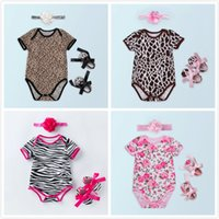 Wholesale leopard baby shoes online - 5Styles Baby Girl Clothes Set American Independence Day Infant Rompers Shoes Headband Suits Floral Leopard Print Fashion Kids Clothing