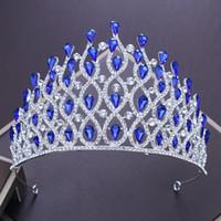 büyük mavi paspaslar toptan satış-Gelin Avrupa Taç Tiara Kraliçe Lüks Rhinestone Mavi / Kırmızı / Beyaz Kristal Taç Vintage Prenses Büyük Kafa Düğün Ziyafet Headdress