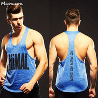 Wholesale Casual Loose Mens Vest - Maoxzon Mens Loose Athleisure Fitness Tank Tops Man Letter Print Casual Muscle Beauty Gymnasium Sleeveless Shirts Tanks Vests