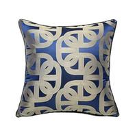 Luxurious Contemporary Royal Blue Geometric Pillow Case Modern Pipping Jacquard Woven Home Floor Sofa Throw Cushion Cover Square 45x45cm