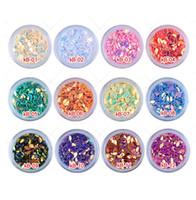 renk parıltı ipuçları toptan satış-Nail Art Glitter Bırak Şekiller Konfeti Mix Renk Pul Akrilik İpuçları Tırmanmak Tırnak Sanat Aksesuarları Süslemeleri