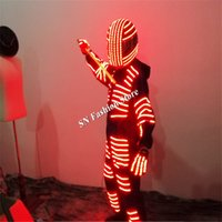 sahne kostümleri yol açtı toptan satış-LZ17 LED robot kostümleri dans robotu aydınlık takım RGB renkli ışık led kostümleri bar parti sahne giyim dj kask disko performans giyer