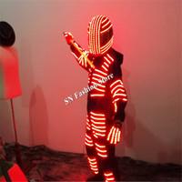 robot de ropa ligera al por mayor-LZ17 trajes de robot LED dance robot luminoso traje RGB colorido luz led trajes bar partido etapa usa ropa dj casco discoteca rendimiento