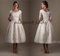 Wholesale Brides Reception Dresses - Vintage1920s Lace Tea Length Modest lds Wedding Dresses With Half Sleeves Puffy A-line Informal Brides Reception Dresses Non White Dress