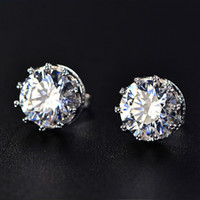 Wholesale zircon cubic sterling cz earrings for sale - TIESET CZ Diamond Stud Earrings Sterling Silver Round Cut Cubic Zircon Earrings jewelled colors