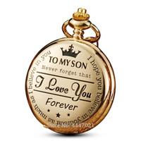 montres chinoises unisexes achat en gros de-Montre de poche À mon fils, je t'aime cadeau au fils de père mère cadeau d'anniversaire garçons Fob montres chaîne graduation d'anniversaire