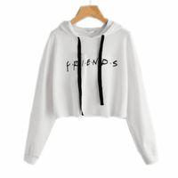 weißes geschnittenes sweatshirt großhandel-Freunde Brief gedruckt Cropped Hoodie Frauen 2017 Herbst Langarm-Kapuzen-Sweatshirt Casual White Pullover Sudadera E0211