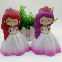 Wholesale kawaii princess - Kawaii Colorful Princess Doll Squishy Slow Rising Soft Squeeze Straps Scented Cake Bread Bun Kid Toy Gift EEA278
