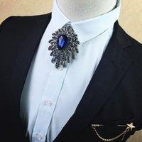 ropa de diamante azul al por mayor-Moda Caballero Accesorios de vestir Diamond Blue Spider Tie Corea del hombre pajarita Novio Vestido de novia Collar Flor Broche