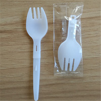 Wholesale plastic folding spoon fork resale online - Plastic scoop Folding Fork spoon Measuring spoon Ice cream Fork scoop LZ1847