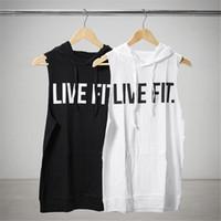 Wholesale body building tanks - Fashion Gym Men's Cotton Body Building Hooded Tank Tops Gym Fitness Vest Workout