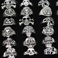 Wholesale bikers style silver rings resale online - SENHUA MIXED Cool BOY Mens Jewelry Biker Gothic Style Antique Silver skeleton Skull Rings for Halloween Gift MR88