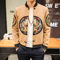Wholesale coats chinese collars - 9 colors Winter Embroideried Men Bomber Jacket Chinese Long Pao Jackets Men Slim Fit Long Sleeve Men Casual Warm Coats Thick Overcoats