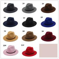 Wholesale Pink Trilby Hat - 11 colors vintage women Elegant Solid felt Fedora Hat Band Wide Flat Brim Jazz Hats Stylish Trilby Panama Caps R121