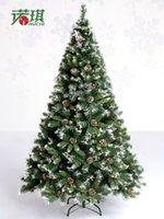 weiße weihnachtsspray groihandel-Großhandel 2,1 Meter Weihnachten Künstliche Weihnachtsbaum Mit Pinecone Spray weißen effekt Urlaub Notwendigkeiten Gefälschte Pinetree