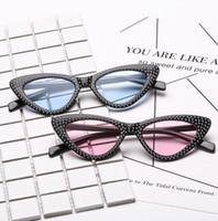 128fffa1920aa Fashion Small Cat Eye Sunglasses Women Luxury Brand Diamond Triangle Glasses  Luxury Rhinestone Sunglass 8 design LJJK999