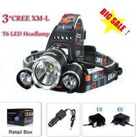 t6 scheinwerfer taschenlampe großhandel-3T6 Scheinwerfer 6000 Lumen 3 x Cree XM-L T6 Scheinwerfer-Kopf-Fackel-Lampen-Scheinwerfer-Scheinwerfer-Lampen-Kopf + Aufladeeinheit + Autoladegerät Freies Verschiffen