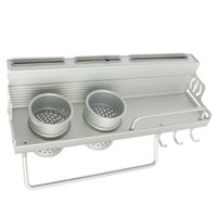 держатели для посуды оптовых-Wholesale-Long Aluminum Kitchen Storage Rack Pantry Pan Pot Organizer Cookware Holder Hooks Spice Dinnerware Shelf 40-60cm