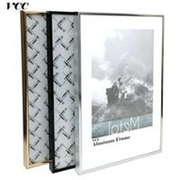 kunst wand metall aluminium großhandel-Frame Wall Art dekorative, klassische Super Narrow Aluminium A4 A3 Plakatrahmen für Wandbehang, Metall Bilderrahmen, Zertifikat Rahmen,