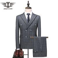 мужской светло-серый костюм оптовых-Plyesxale Double Breasted Suit Men 2018 Men's Plaid Suits 5XL Plus Size Light Gray Wedding Tuxedo 3 Piece Mens Formal Wear Q386