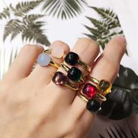 charme mädchen porzellan großhandel-Top Messing Material Paris Design Ring mit Zirkon Kristall verzieren Stempel Logo Charme 18 Karat Gold Ring für Frauen und Freundin Schmuck GIF