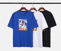 Wholesale Snow White Shirts - 2017 new snow mountain T -shirt High quality cotton 4 colors red black white blue Short sleeve SHARK NOAH KANYE WEST