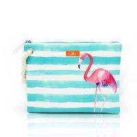 Wholesale brand college - Women's Wet Bikini Clutch Bag Brand Designer Fashion Stripe Lady's Handbag Flamingo Hemp Rope Beach Bags Bolsa Feminina