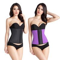 Wholesale plus size corset steel belt - Latex Waist Trainer Plus Size Corset Slim Shaper 9 Steel Bone Corset Girdle Women Waist Belt Modeling Strap Shapewear