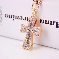 Wholesale Lucky Cross Metal - Exquisite Crystal Cross Keyrings Keychains Chic Lucky Purse Bag Pendant For Car Women Key Chains Holder Rings G16Q