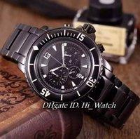 Wholesale Miyota Quartz - Luxury Brand Fifty Fathoms 50 Fathoms 5085F-1130-52 All Black Case Dial Miyota Quartz Chronograph Mens Watch Stainless Steel Watches JB33c3