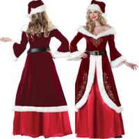 yılbaşı santa kostümleri uzun toptan satış-Sıcak Kadınlar Seksi Noel Cosplay Kostümleri Festivali Parti Elbise Üniforma Noel Baba Kadınlar Için Seksi Uzun Elbise
