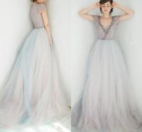 reizvolles diamantspitze-hochzeitskleid groihandel-Vintage lila blaues Hochzeitskleid mit Ärmeln Bling Diamant Perlenstickerei Sexy Ausschnitt Brautkleider 2018 Two Tone Braut kleidet bunter Entwurf