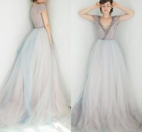 Wholesale purple diamond wedding dress for sale - Group buy Vintage Purple Blue Wedding Dress with Sleeves Bling Diamond Beading Sexy Neckline Bridal Gowns Two Tone Bride Dresses Colorful Design