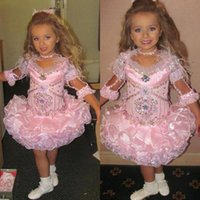 ingrosso vestiti di bambina piuma-Pink Girls Pageant Dresses For Little Girls Feather Gowns 2019 Toddler Kids Ball Gown Glitz Flower Girl Dress Matrimoni in rilievo Su misura